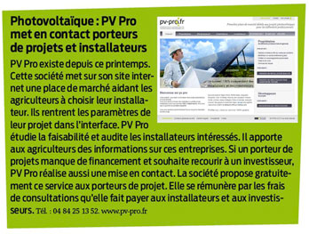 Article LA FRANCE AGRICOLE novembre 2010