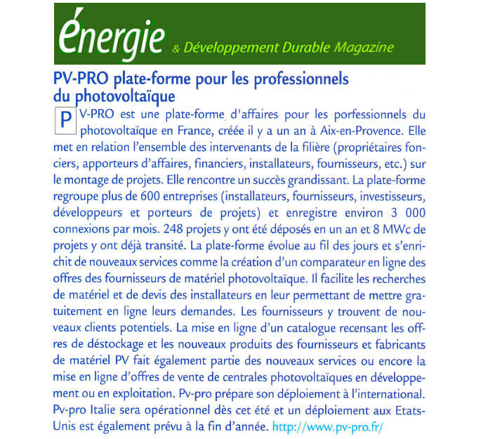 Article Sud Info juillet 2011
