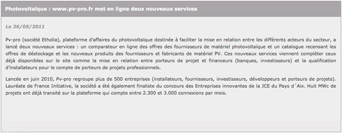 Article Entreprises Aix mai 2011
